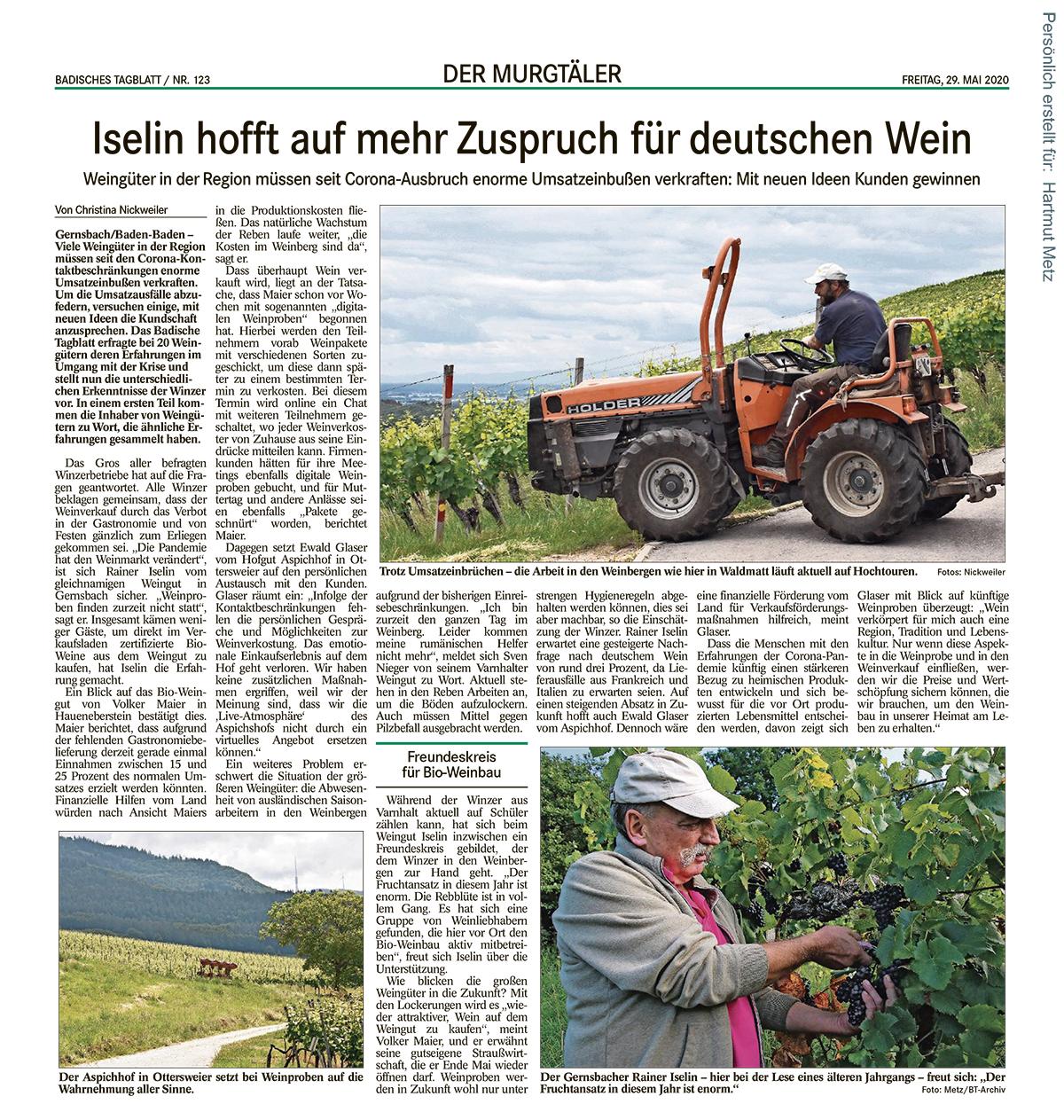 Badisches Tagblatt, Ausgabe: Murgtal, vom: Freitag, 29. Mai 2020